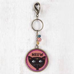 Natural Life Meow Black Cat Glitter Keychain