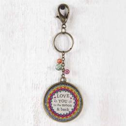 Natural Life Love You To The Moon Glitter Keychain