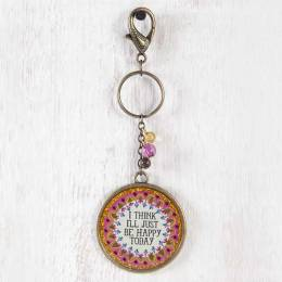 Natural Life Happy Today Glitter Keychain