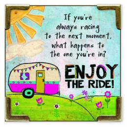 Natural Life Camper Enjoy The Ride Corner Magnet