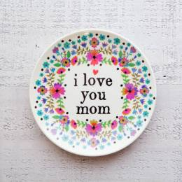 Natural Life Love You Mom Mini Melamine Plate
