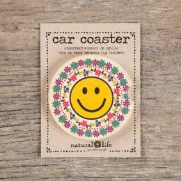 Natural Life Smiley Car Coaster