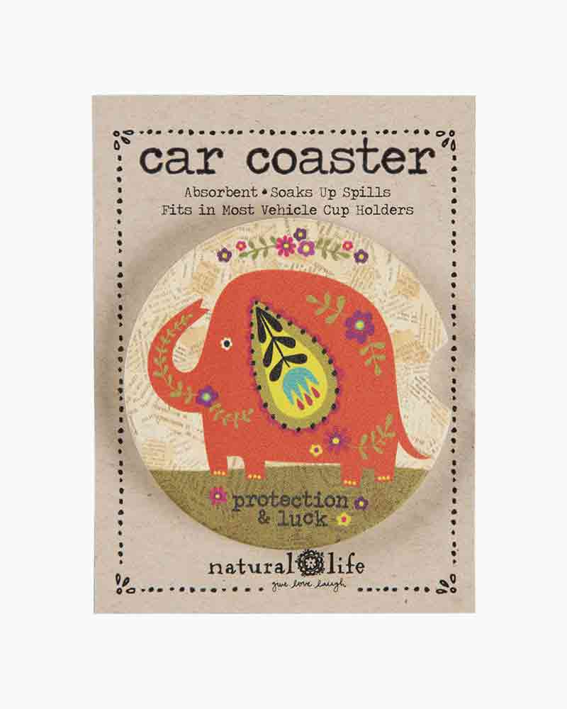 Natural Life Orange Elephant Car Coaster