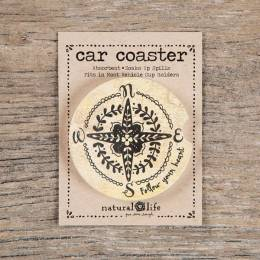 Natural Life Compass Car Coaster