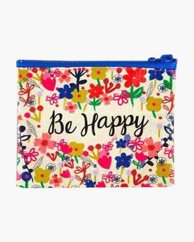 Be Happy Recycled Zip Coin Purse