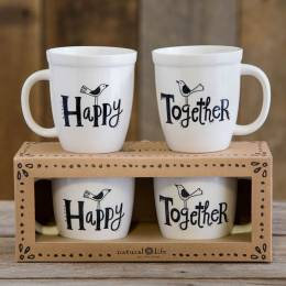 Natural Life Happy Together Set of Two Mugs