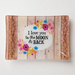 Natural Life Love You to the Moon Glass Tray