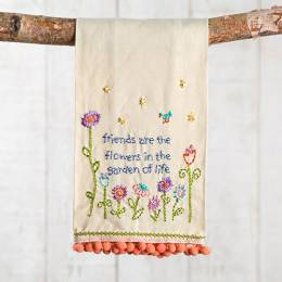 Natural Life Friends Are Flowers Linen Hand Towel
