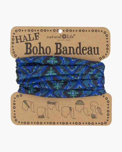 Navy & Green Ikat Half Boho Bandeau