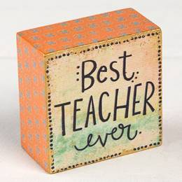 Natural Life Best Teacher Ever Wooden Keepsake Box Sign