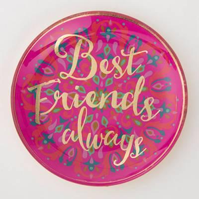 Best Friends Always Round Glass Tray