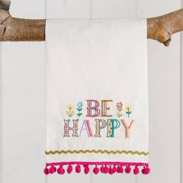 Natural Life Be Happy Linen Hand Towel