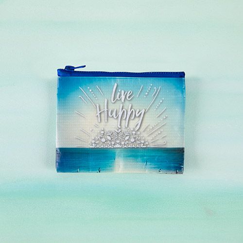 Natural Life Live Happy Recycled Zip Coin Purse