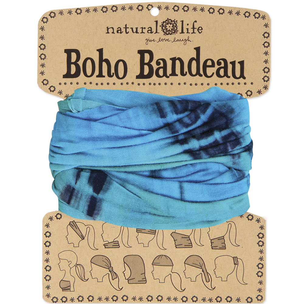 Natural Life Turquoise and Blue Tie-Dye Boho Bandeau