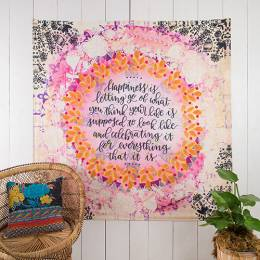 Natural Life Happiness is Letting Go Wall Tapestry