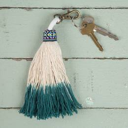 Natural Life Turquoise Tassel Keychain