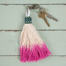 Natural Life Rose Tassel Keychain