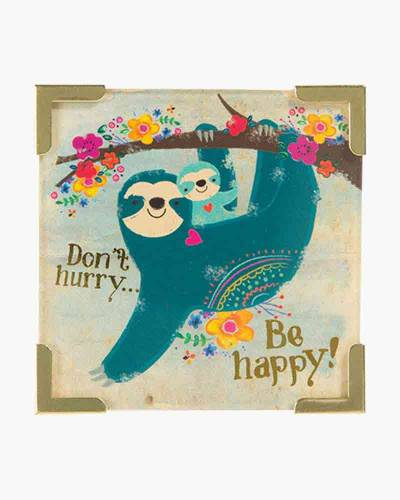 Don't Hurry Be Happy Sloth Corner Magnet