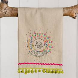 Natural Life Do More of What Makes You Happy Linen Hand Towel