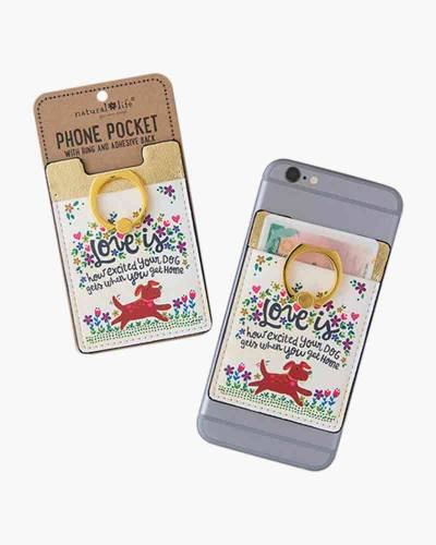 Love is an Excited Dog Phone Pocket and Ring