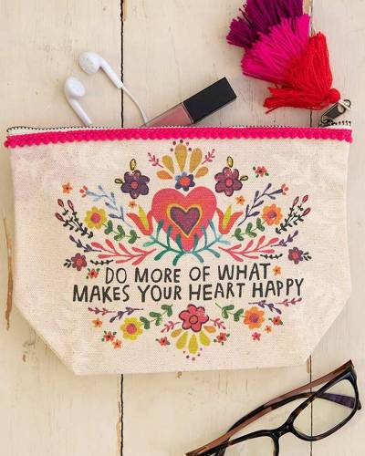 Do More Heart Happy Canvas Pouch