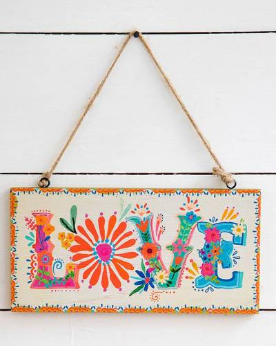 Love Hanging Wooden Wall Sign