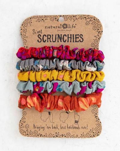 Ray Flower Printed Skinny Scrunchies (Set of 5)