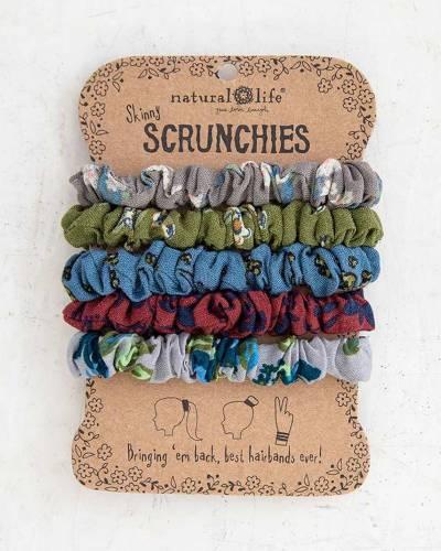 Nature Walk Printed Skinny Scrunchies (Set of 5)