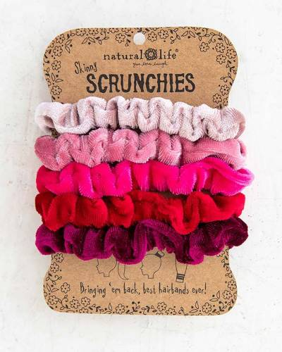 Red and Pink Velvet Scrunchies (Set of 5)