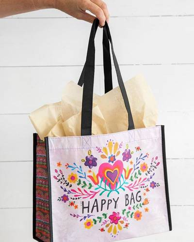 Hot Pink Heart Large Happy Bag