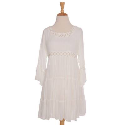 White Latticework Dress
