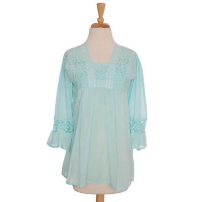 Turquoise Crochet Blouse