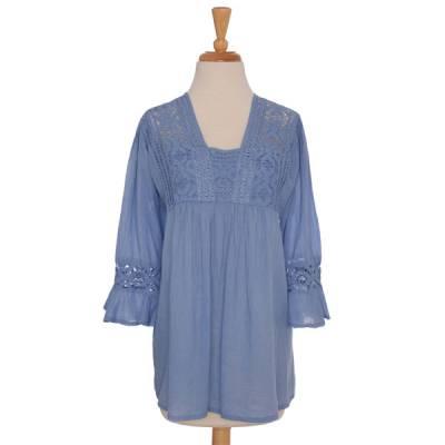 Blue Crochet Blouse