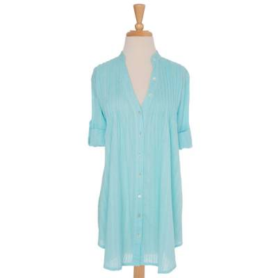 Turquoise Pin Tuck Blouse