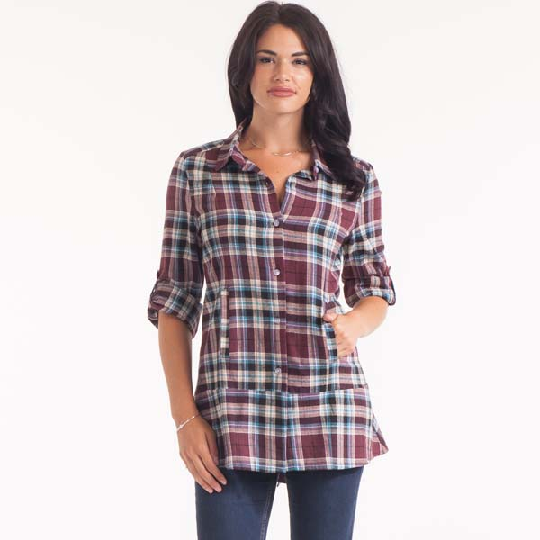 Noelle Plaid Roll Sleeve Top in Raisin