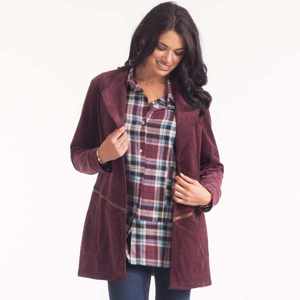Noelle Plum Corduroy Zip-Away Jacket