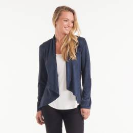 Noelle Faux Suede Cardigan in Navy Blue