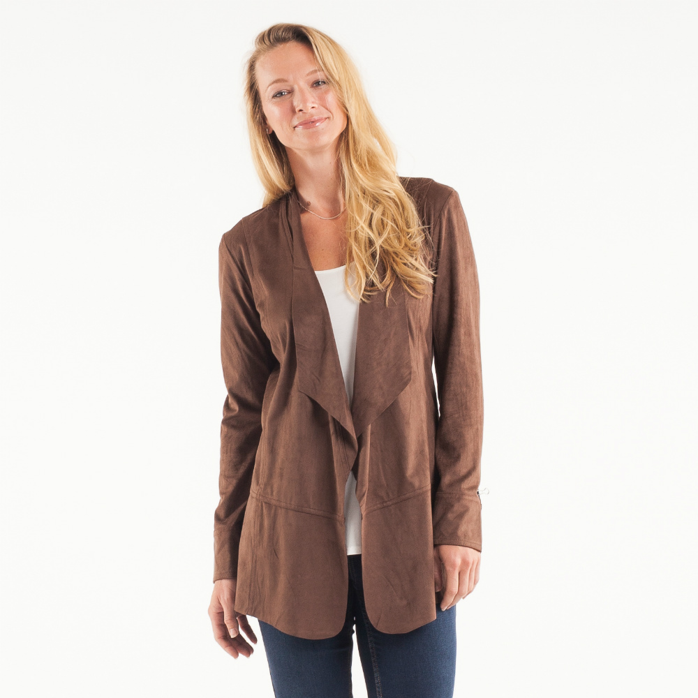 Noelle Faux Suede Waterfall Jacket in Coffee