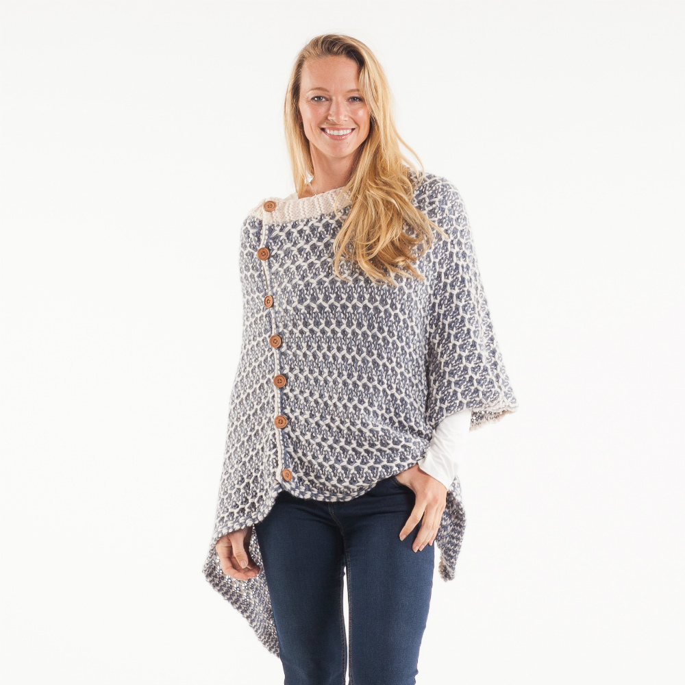 Noelle Wood Button Knit Poncho