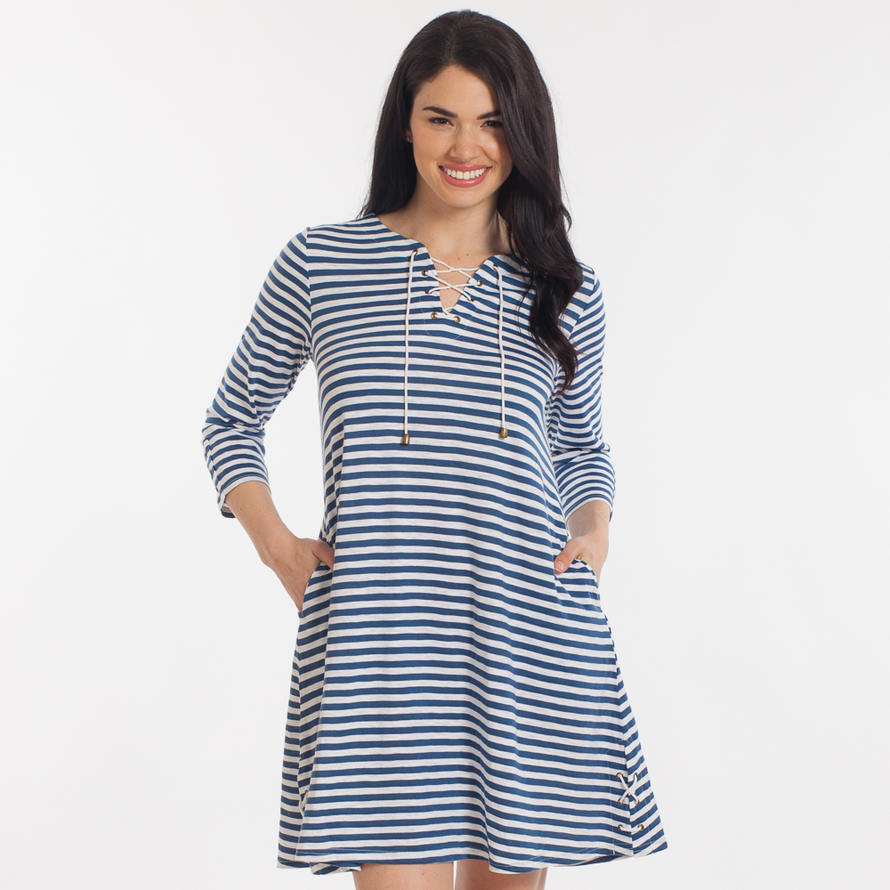 Noelle Tie-Neck Striped Dress