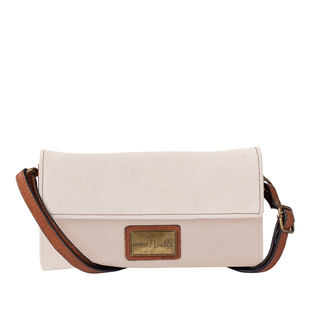 Noelle Suede Panel Convertible Crossbody Bag in Ivory