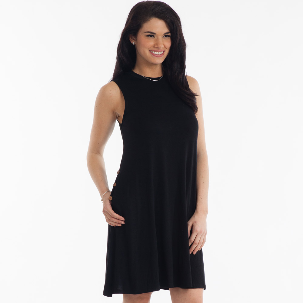 Noelle High-Neck Swing Dress in Black