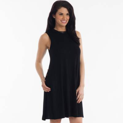 High-Neck Swing Dress in Black