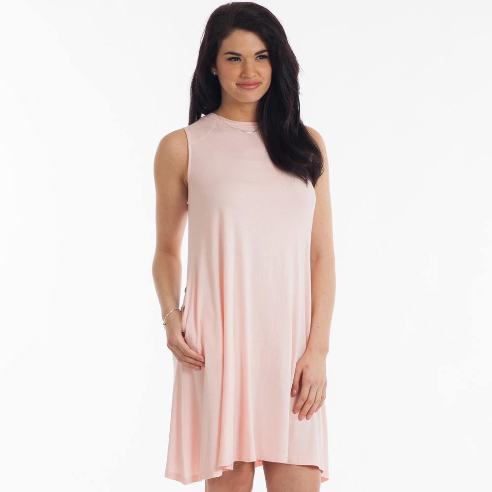 Noelle High-Neck Swing Dress in Blush
