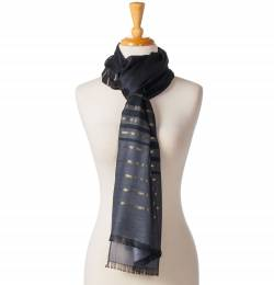 Noelle Shimmering Stripe Scarf in Black