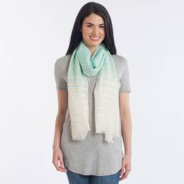 Noelle Shimmering Stripe Scarf in Mint
