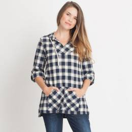 Noelle Plaid Hooded Top in Navy