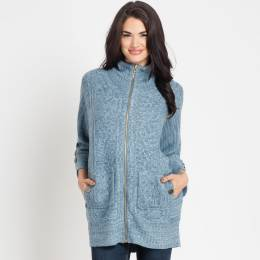 Noelle Knit Zip-Up Jacket in Blue