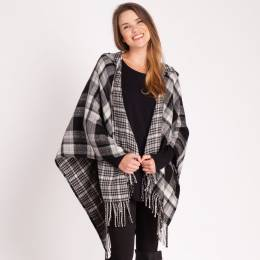 Noelle Plaid Hooded Wrap