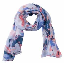 Noelle Abstract Leaf Print Scarf in Navy